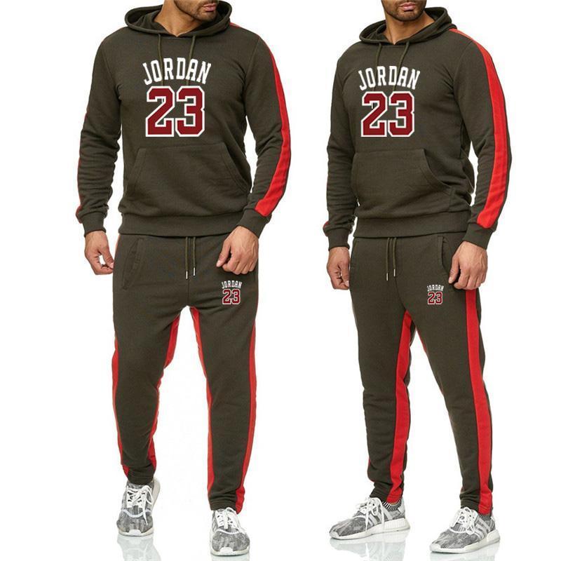 Fall/winter new style men's suit sportswear two piece hoodie + trousers jogging fitness sportswear pullover track suit sweater s