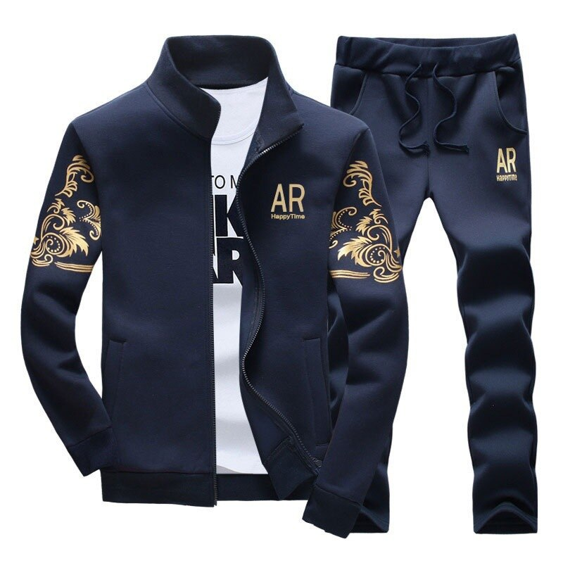 Men's Sportswear Sets 2020 Spring Autumn Male Casual Tracksuit Men 2 Piece Zipper Sweatshirt + Sweatpants Brand Track Suit Set