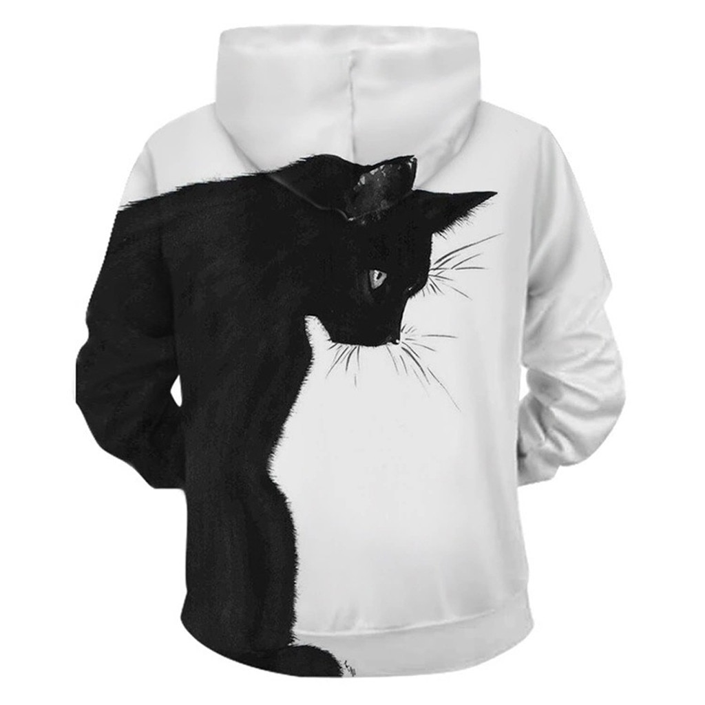 2020 autumn casual sweatshirt women's sports hoodie fashion men's and women's long-sleeved black and white two cat sweatshirt