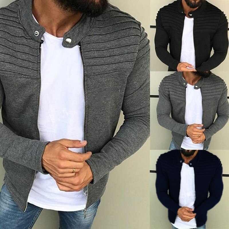 Men's Autumn Pleats Slim Stripe Fit Jacket Zipper Long Sleeve Winter Coat Cardigan Coat Sports Casual Men Jacket