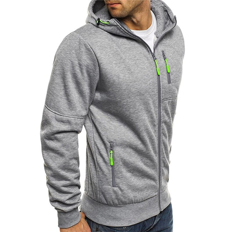 Autumn Outerwear Casual Hoodie Sweatshirt Jacket Fashion Solod Color Slim Hoodies 2020 New Men's Sports Fitness Jacket