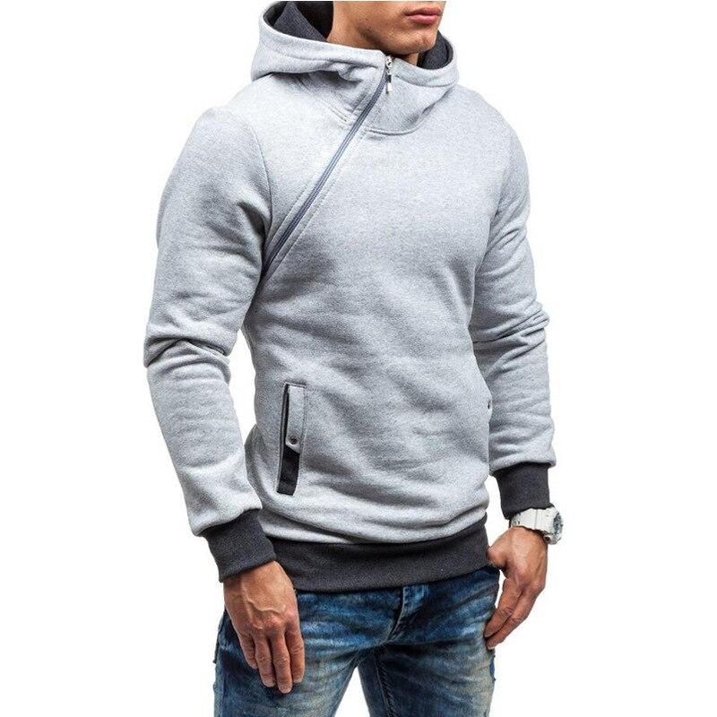 2020 European and American Men's Autumn and Winter New Hoodies Men's Diagonal Zipper Hooded Jacket Plus Velvet Warm Sports Top
