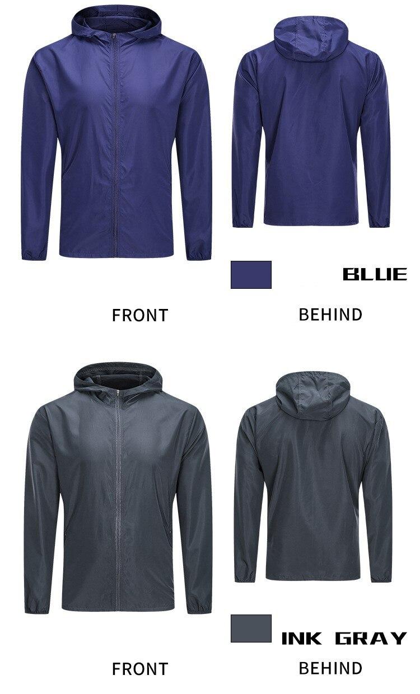 Autumn New Sports Jacket Men's Speed Dry Air Leisure Thin Outdoor Running Fitness Cap Coat Men