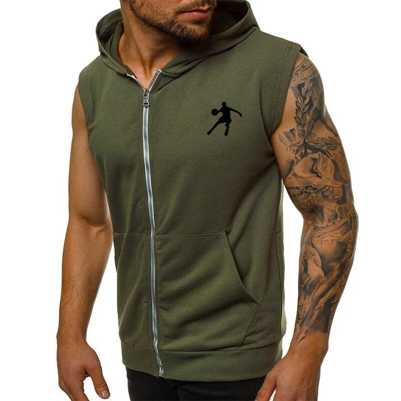 Men's Hooded Running Sweater Zipper Sleeveless Solid Color Cardigan Sweatshirt Hoody Tops Gyms Sport Vest Sports Jacket Tops