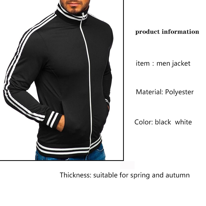 men's jacket black casual coat baseball bomber jacket streetwear thin spring autumn run sports Jackets Men coat