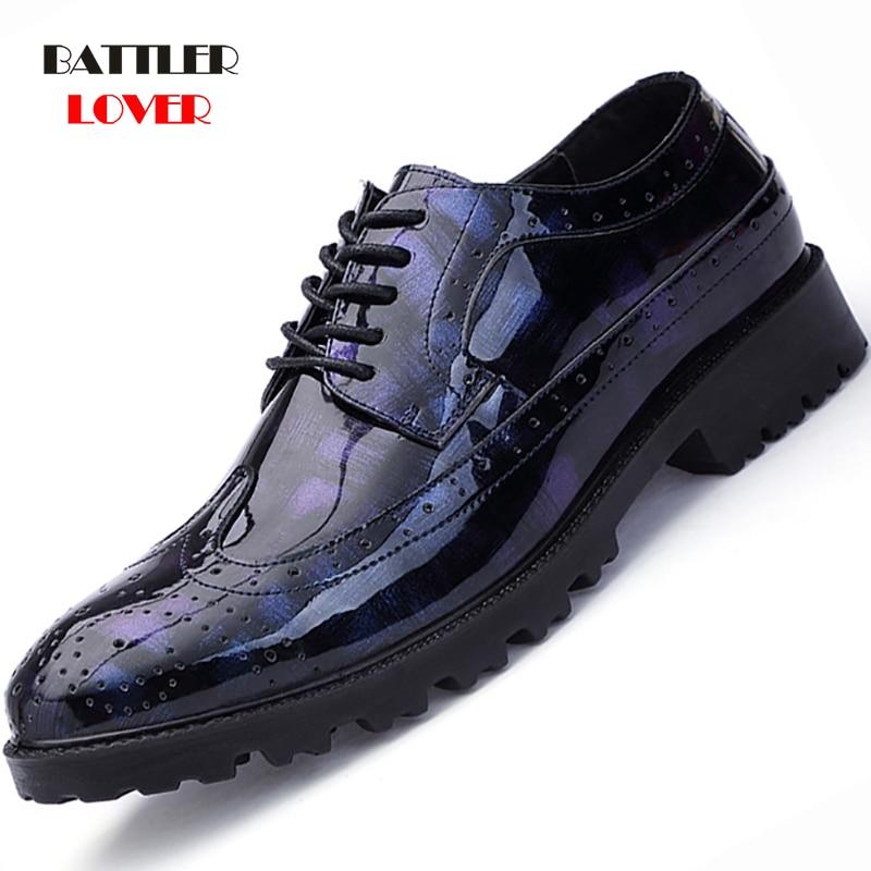 New British Men's Slip On Split Leather Pointed Toe Men Dress Shoes Business Wedding Oxfords Formal Shoes For Male 2018 38-48