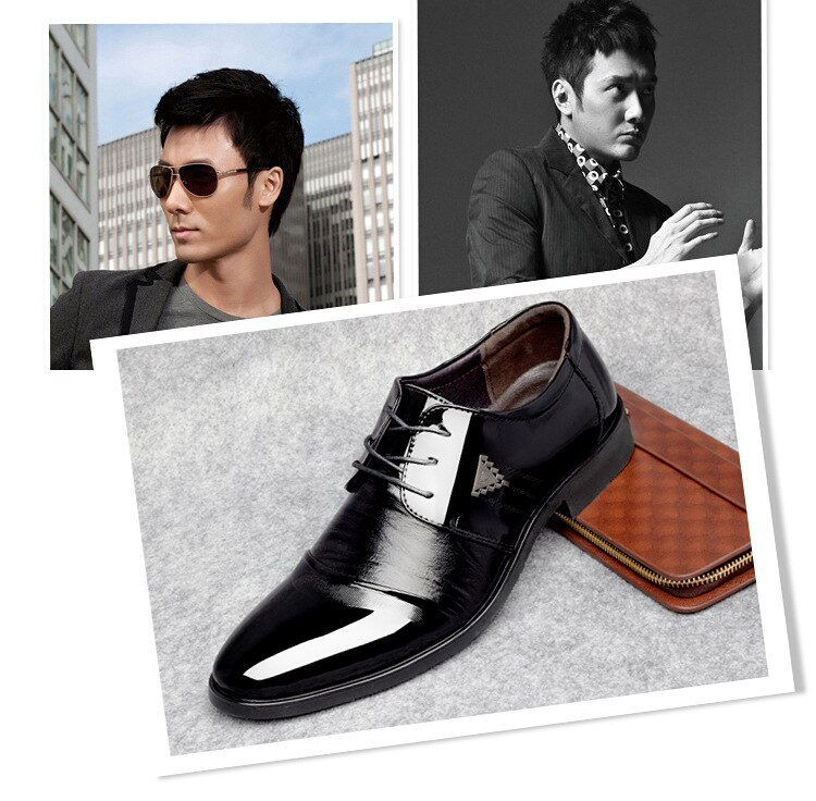 Black Men Fashion PU Leather Formal Wedding Shoes Men Slip On Office Oxford Shoes Classic Business Men's Dress Shoes