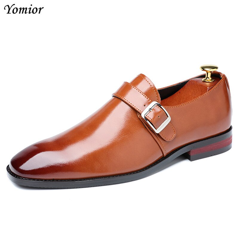 Yomior New Spring Summer Men's Shoes Formal Dress Shoes Business Oxfords Italian Leather Shoes Elegant Wedding Big Size Loafers