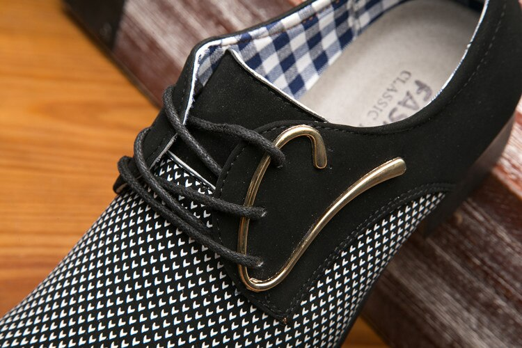 Mens Leather Concise Shoes Men's Business Dress Pointy Plaid Black Shoes Breathable Formal Wedding Basic Shoes Men 2019 loafers