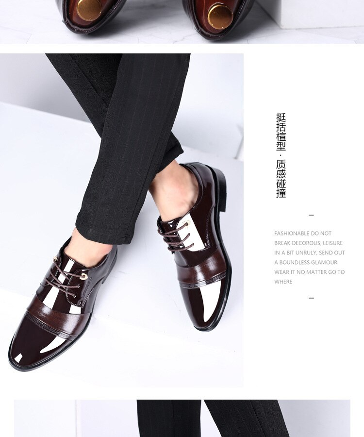 High Quality Men's PU Leather Party Shoes Soft Man Dress Shoes Big Size 45 46 47 Point Toe Man Wedding Formal Shoes