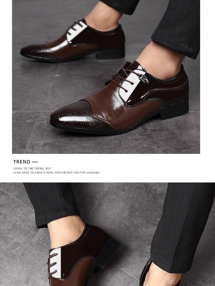 2020 New British Men's Slip on Split Leather Pointed Black Brown Toe Men Shoes Business Wedding Oxfords Formal Shoes for Male 48
