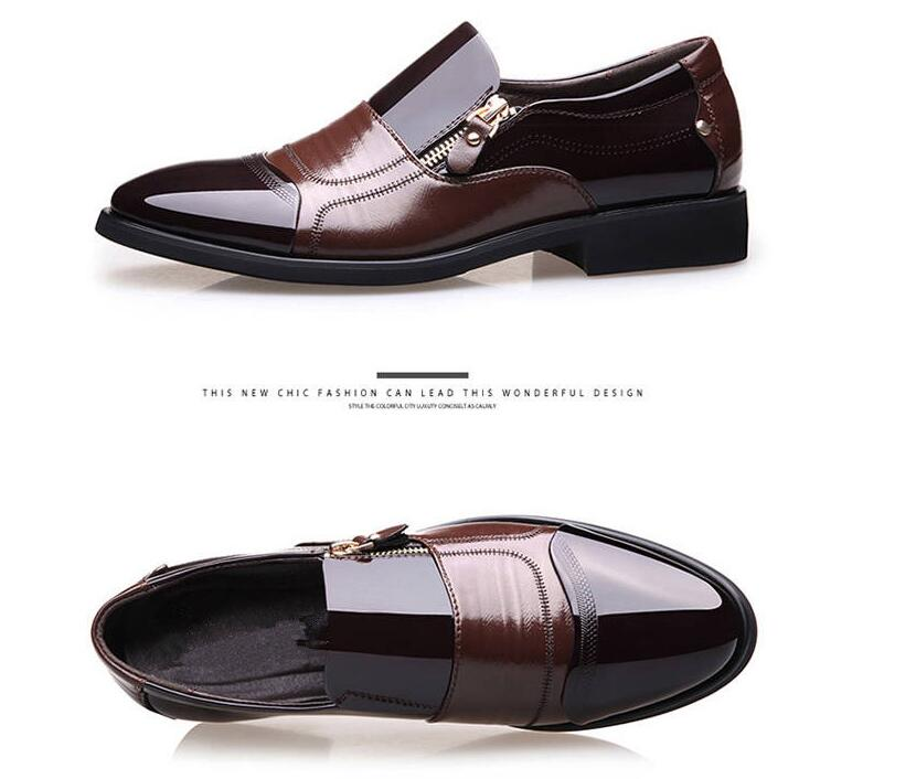 Men's Business Shoes Classic Fashion Dress Shoes Formal Pionted Toe Office Oxford Zip PU Leather Big Size 38-48 Male Footwears