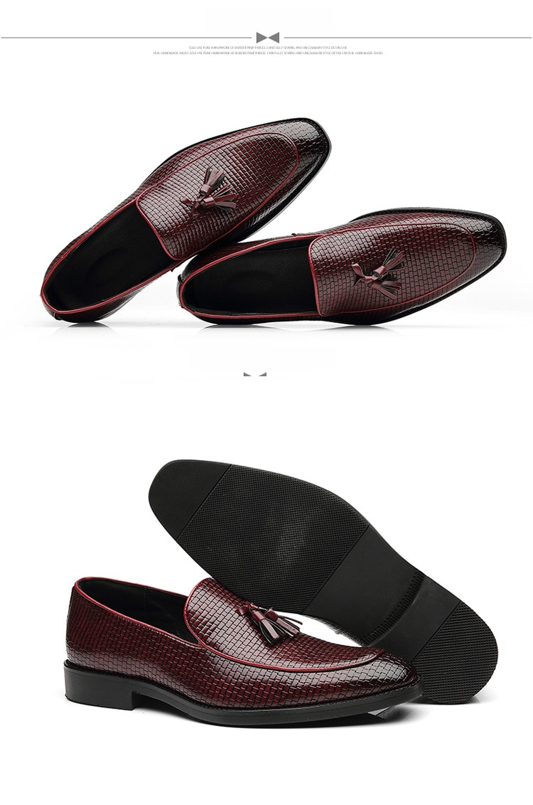 2020 Hot Men's Formal Wedding Shoes England Retro Tassel Leathere Loafers Men's Business Dress Shoes Pointed Flat Big Size 37-48
