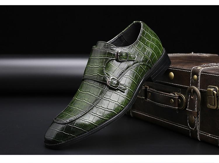 2020 Classic Crocodile Pattern Business Flat Shoes Men Designer Formal Dress Leather Shoes Men's Loafers Christmas Party Shoes