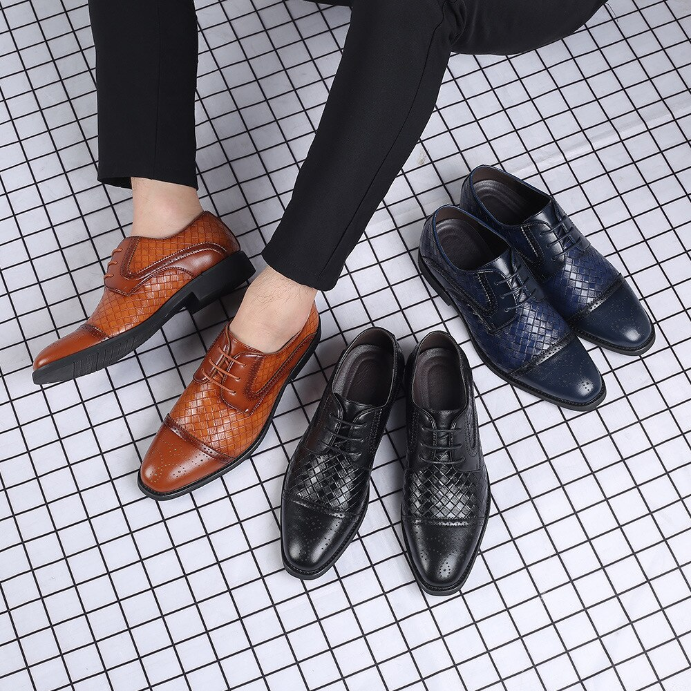 2020 New Men's Dress Shoes Formal Wedding Genuine Leather Shoes Business Office Flats Weaving Shoes Lace-up