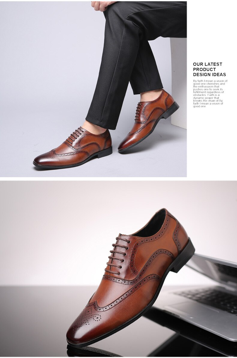 2021 New Classic Men's Brown Brogue Shoes High Quality Breathable Lace-up Business Formal Shoes Luxury Brand Party Dress Shoes