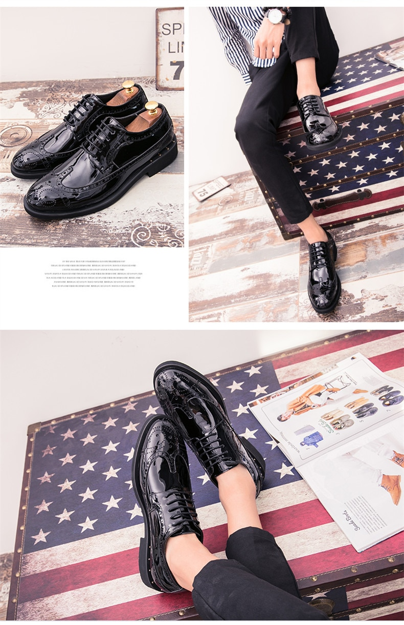Brand Men Dress Shoes Moccasin Glitter Men Formal Shoes Italian Leather Luxury Men's shoes Fashion Groom Wedding Oxford Shoes