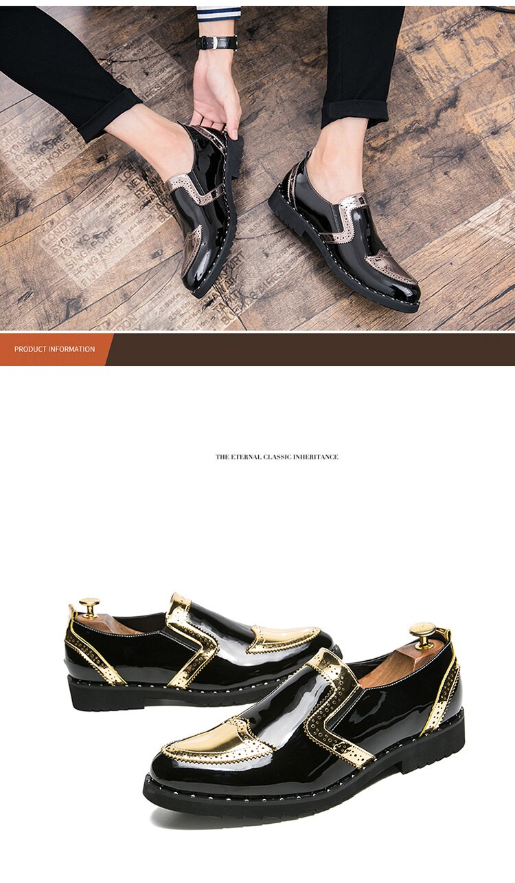 Men Leather Dress Shoes Oxfords Flats Formal Shoes Fashion Classic Business Dress British Style Men's Brogue Shoes Big Size38-48