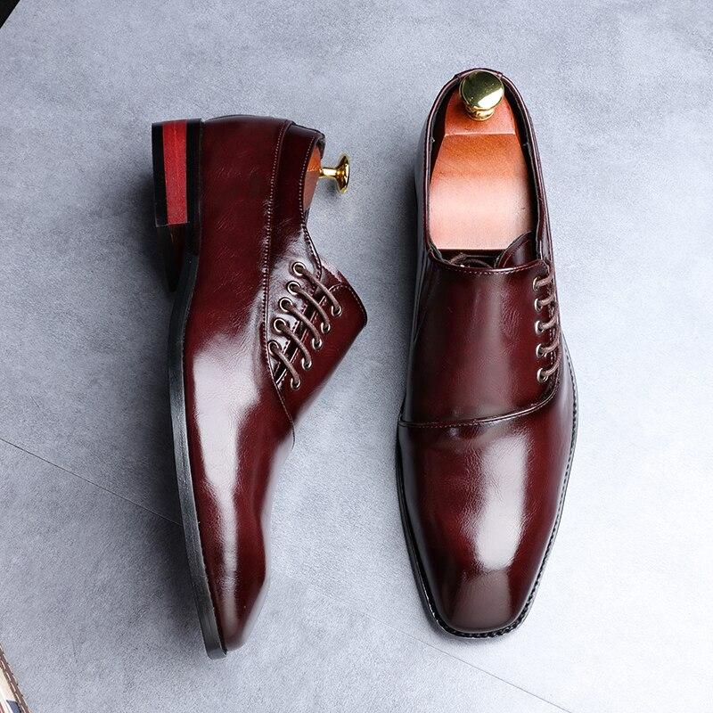 Yomior New Spring Summer Men's Dress Shoes Japanese Formal Business Oxfords Vintage Men Elegant Shoes Party Wedding Shoe Black