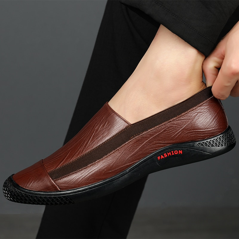 Men Casual Shoes New Spring Moccasins Fashion Mens Loafers Genuine Leather Lightweight Boat Shoes High Quality Luxury Footwear