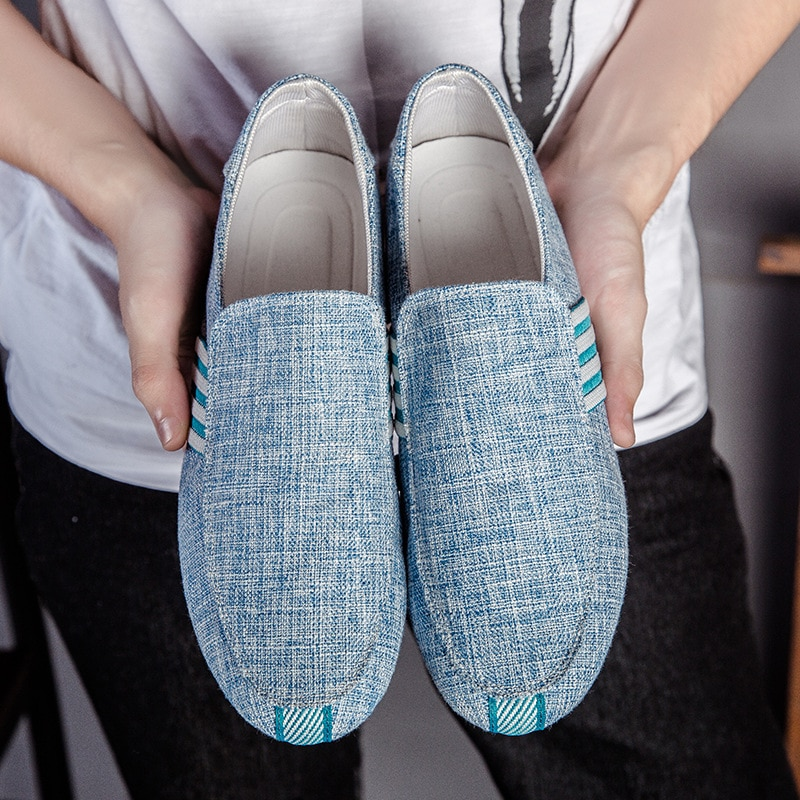 2021 New Spring Men Canvas Loafers Driving Shoes Moccasins Summer Fashion Men's Casual Shoes Flat Breathable Lazy Flats
