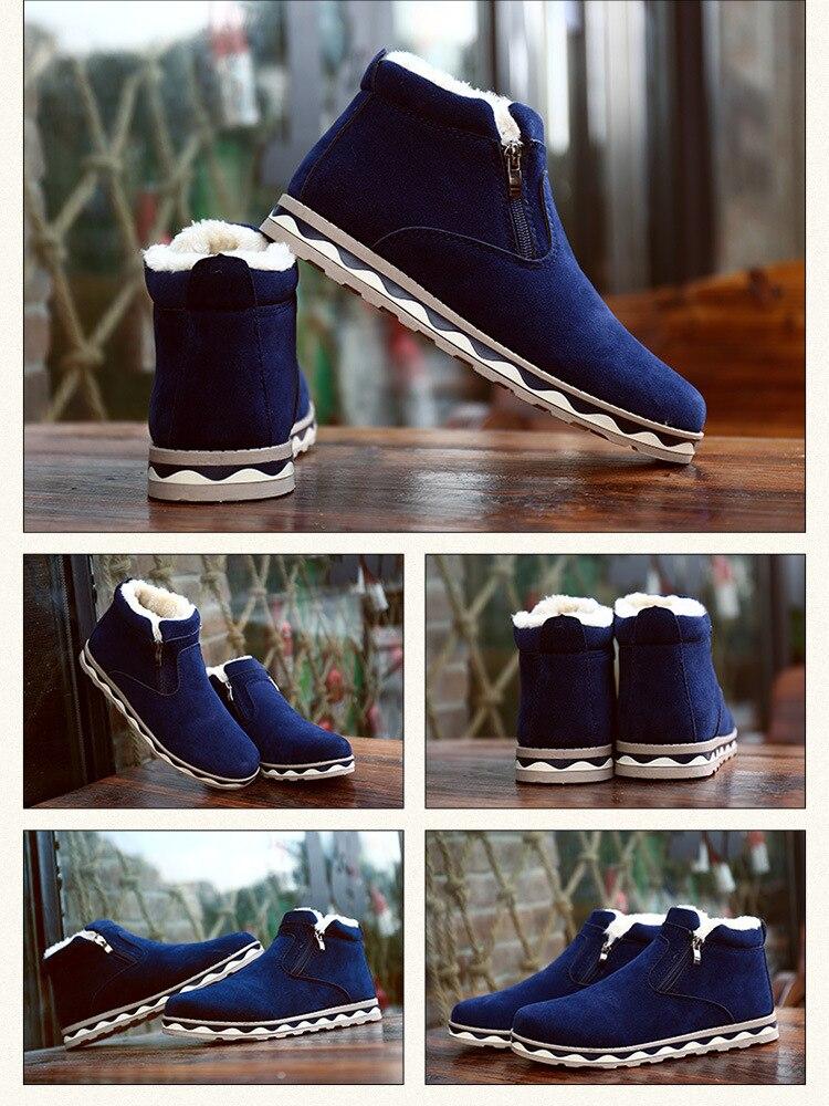 2019 Winter new warm snow boots men's casual Korean fashion comfortable round head zipper men's shoes Size 39-44