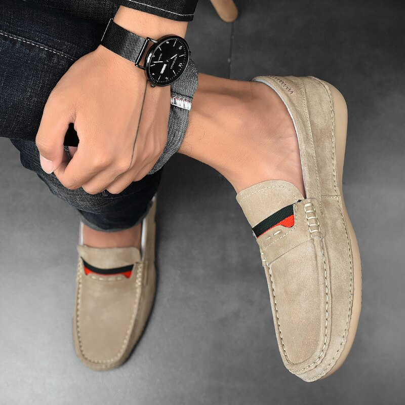 Brand 2021 New Men's Suede Loafers Fashion Casual Soft Leather Shoes Moccasins Breathable Non-Slip Driving Shoes Big Size Hot