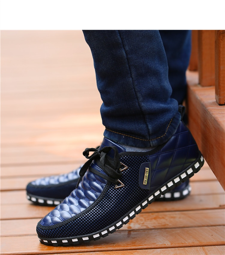 2021 Men PU Leather Shoes Men's Casual Shoes Breathable Light Weight White Sneakers Driving Shoes Pointed Toe Business Men Shoes
