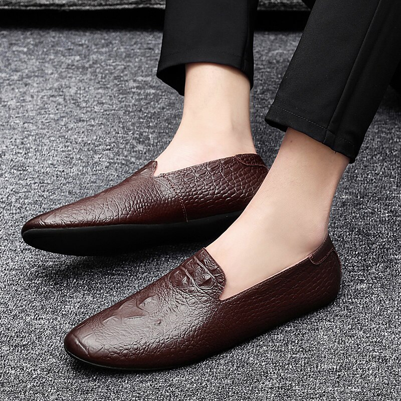 Black Men Loafers Shoes Luxury genuine leather Slip-on Moccasins Casual Men Shoes fashion loafers Men's Flats driving Shoes s5