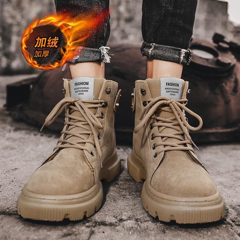 CYYTL Winter Warm Ankle Boots Men's Casual Outdoor Shoes Men's Autumn Leather Waterproof Work Platform Men's Tooling Botas