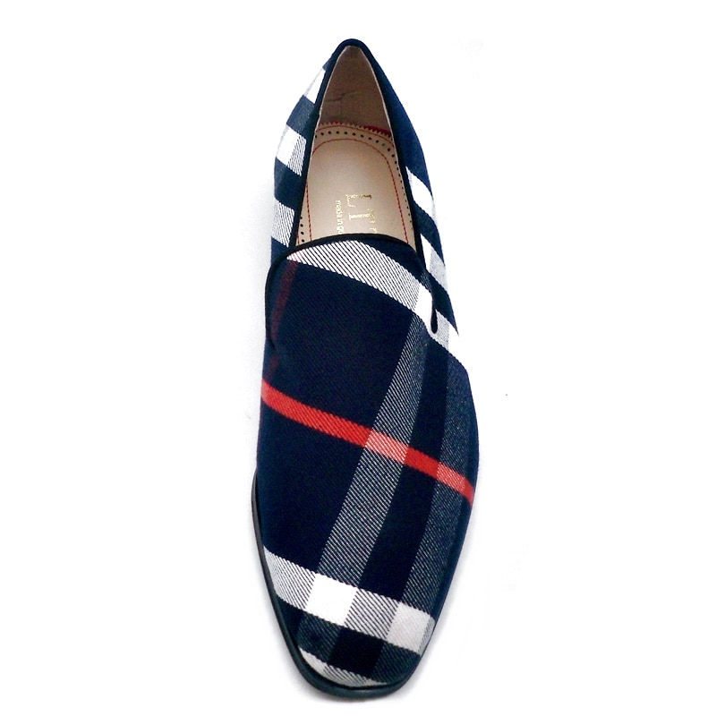 LTTL Blue Canvas Striped Loafers Men Dress Shoes Fashion Slip On Casual Shoes Plus Size Mens Moccasins Party And Wedding Shoes