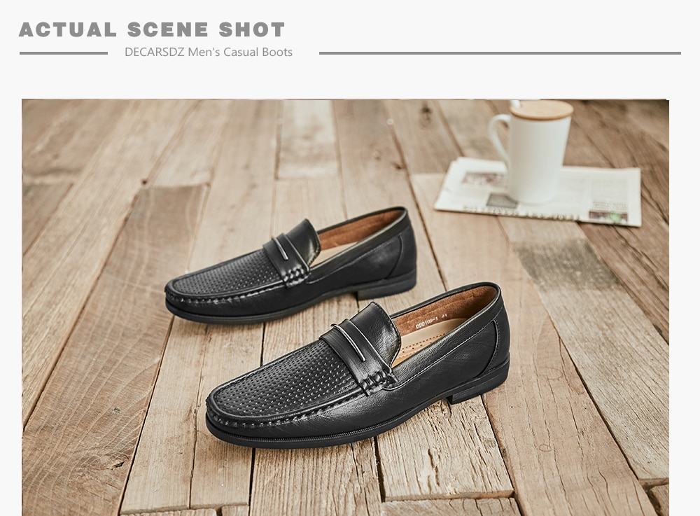 DECARSDZ Men Shoes 2021 Fashion Loafers Shoes Men Comfy high quality Leather Boat Shoes Man Classic Retro Style Men Casual Shoes