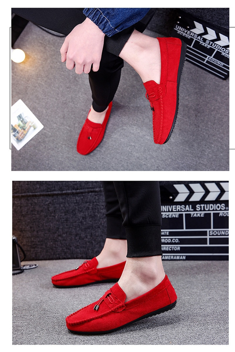 Men Casual Shoes Fashion Male Shoes Suede Soft Men Loafers Leisure Moccasins Slip On Men's Driving Shoes Black Red Man Lazy Shoe