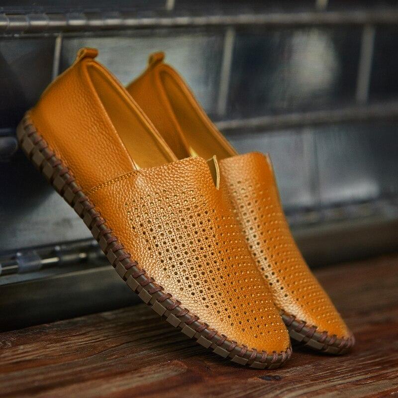 CcharmiX Genuine Cow leather Mens Loafers Fashion Handmade Moccasins Soft Leather Blue Slip On Men's Boat Shoe PLUS SIZE 38~47