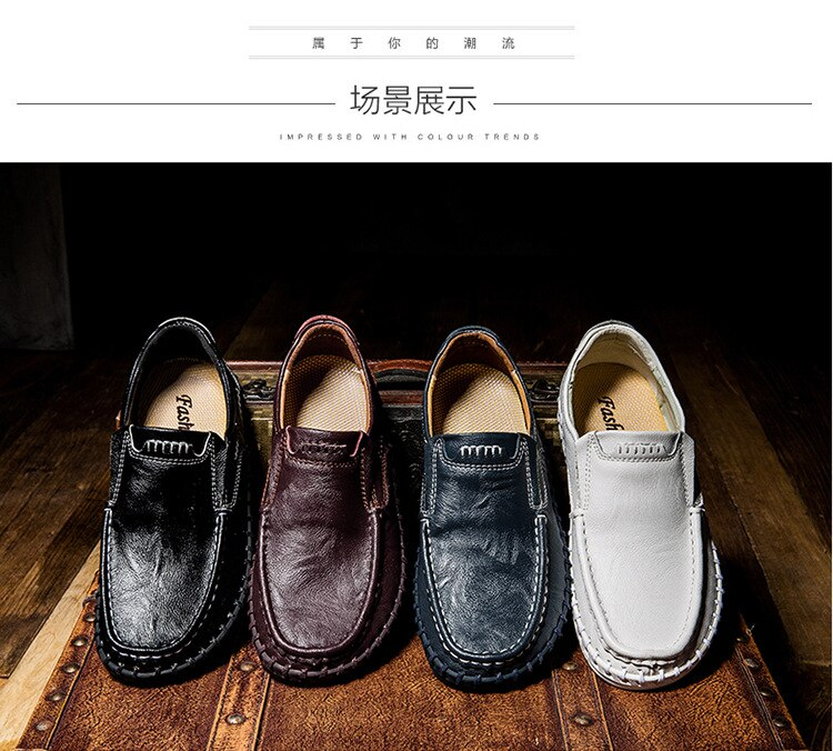 DM393 Genuine Leather Men's shoe Comfortable Outdoor Casual Shoe High Quality Cow Leather Men Flats Plus Size 39-48 shoe for men