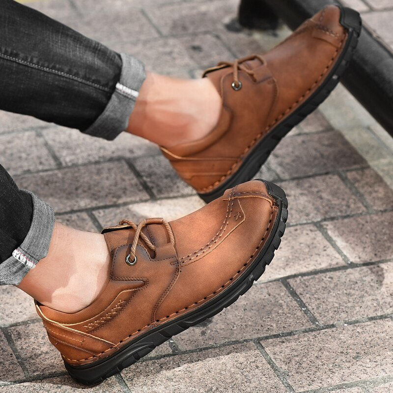 2021 New High Quality Comfortable Men's Leather Shoes Fashion Classic Slip On Leather Loafers Casual Soft Moccasins Big Size 48