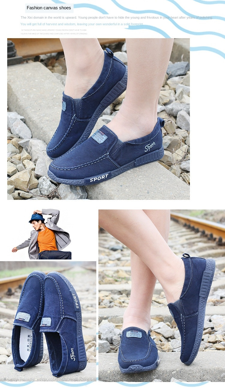 2021 men's sneakers flat men canvas shoes Spring Denim shoes Breathable Casual Shoes Loafers Chaussure Homme big size 38-46