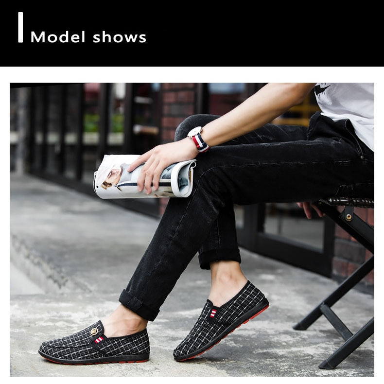 2020 New Fashion Men's Shoes Spring Style Canvas Men Loafers Comfortable Leather Shoes Men Flats Metal Decoration Driving Shoes