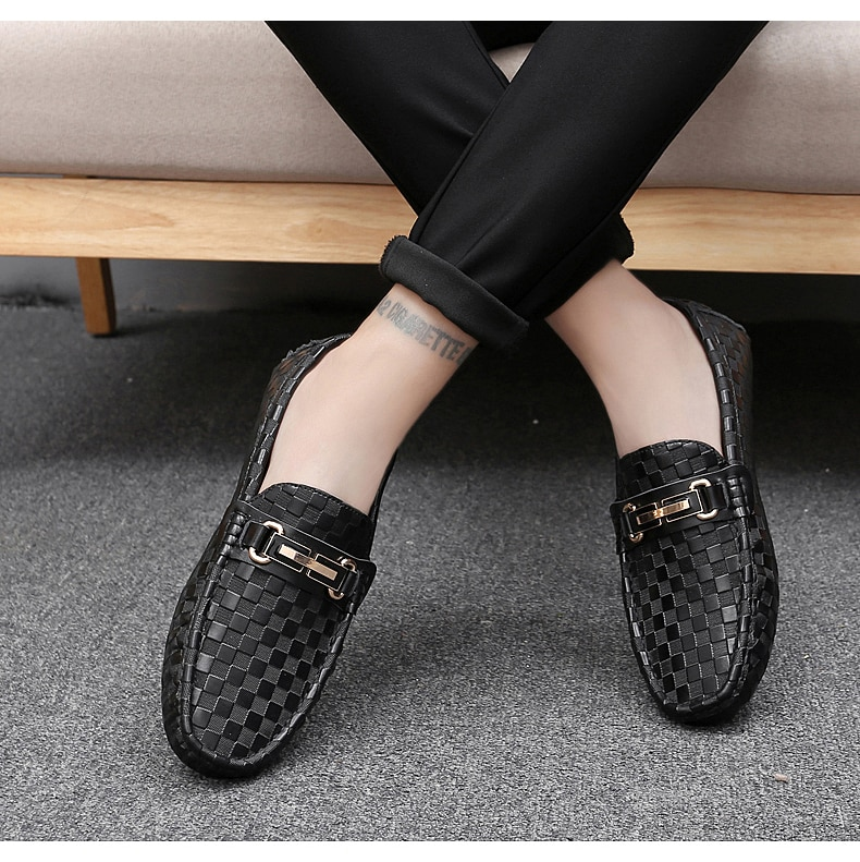 ALCUBIEREE Mens Plaid Embossing Leather Loafers Men's Luxury Italian Handmade Moccasins Man Casual Slip-on Flats Driving Shoes