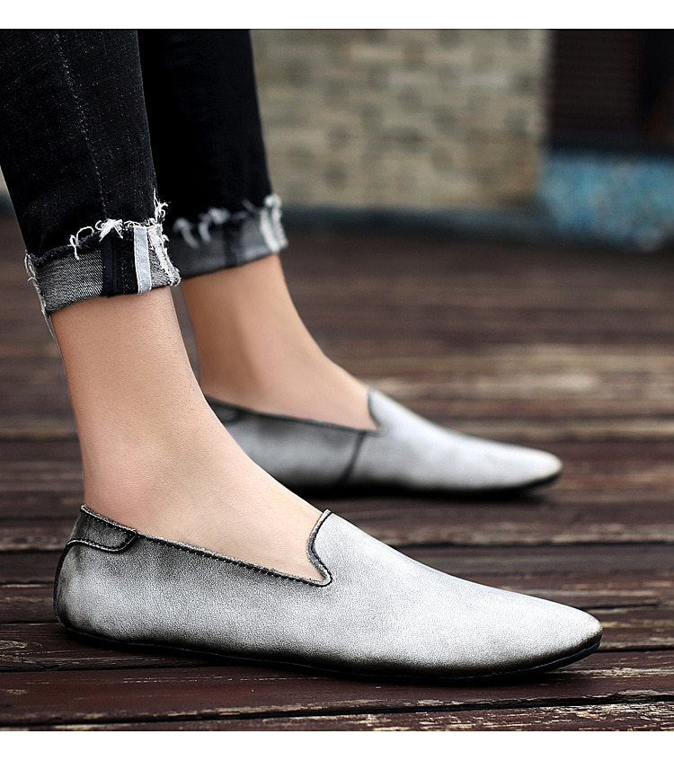 Men's Driving Shoes 2020 Men Genuine Leather Loafers Shoes Fashion Handmade Soft Breathable Moccasins Flats Slip On Shoes