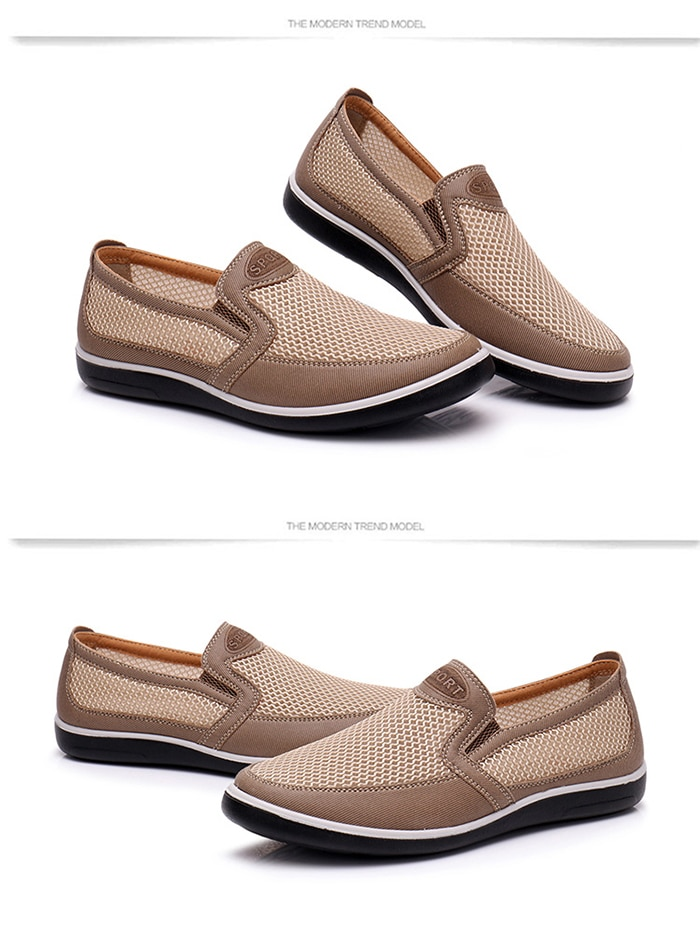 2021 Men's Casual Shoes Men Summer Mesh Men Shoes Breathable Sneakers Men Slip-on Loafers Casual Shoes Outdoor Walking Footwear