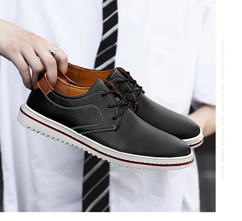Brand Men's Casual Shoes Comfortable Breathable Mens Loafers Business Men's Leather Casual Shoes Office Men Oxfords Dress Shoes