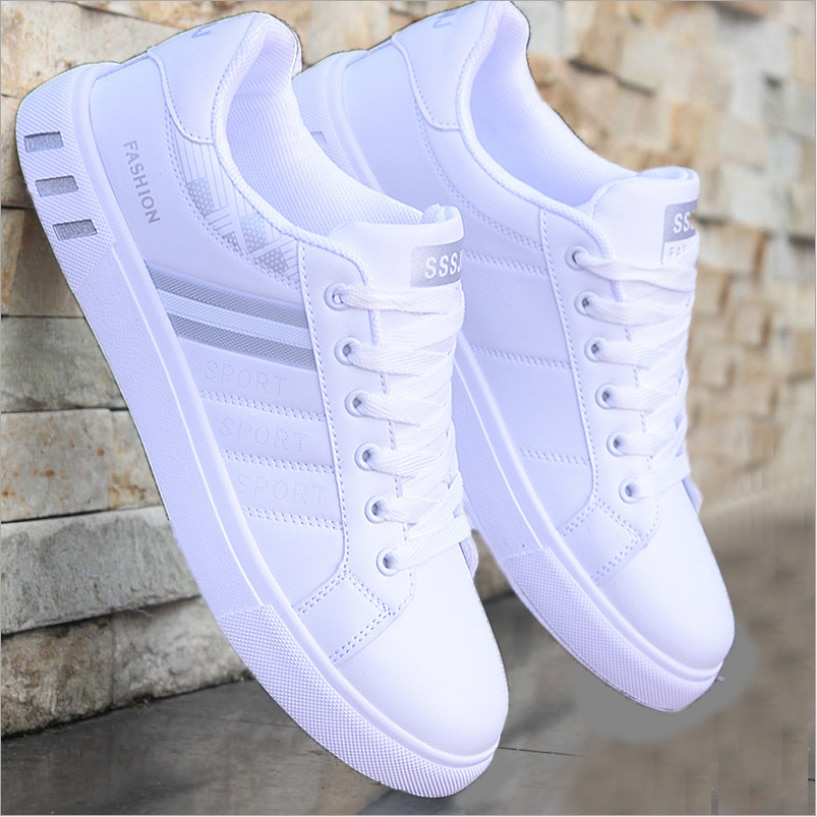 Men Casual Shoes Fashion PU Leather Autumn Flat Shoes Lace Up Breathable Male Sneakers Classic White Men's Vulcanized Shoes