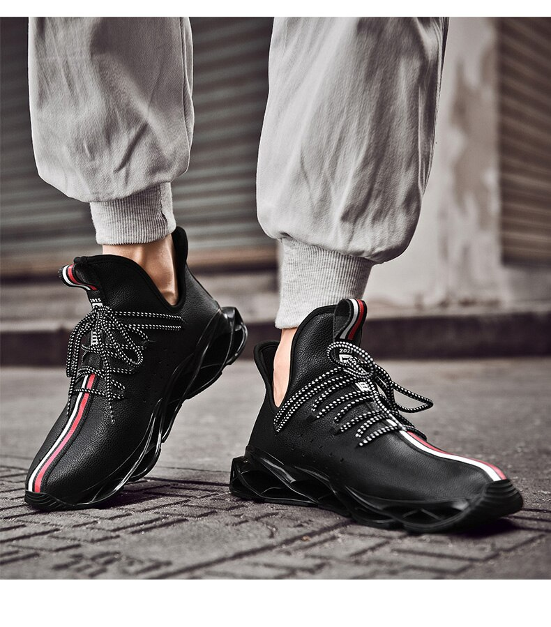 Waterproof Men's Running Shoes Leather Sneakers Unique Blade Sole High-quality Keep Warm Cushioning Athletic Jogging Sport Shoes