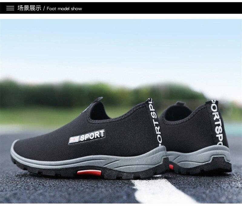 Slip-on Men's Shoes Round Toe Men Sneakers 2020 Mesh Running Shoes Man Low Top Sports Shoe Summer Sport Men Plus Size Shoes Q9