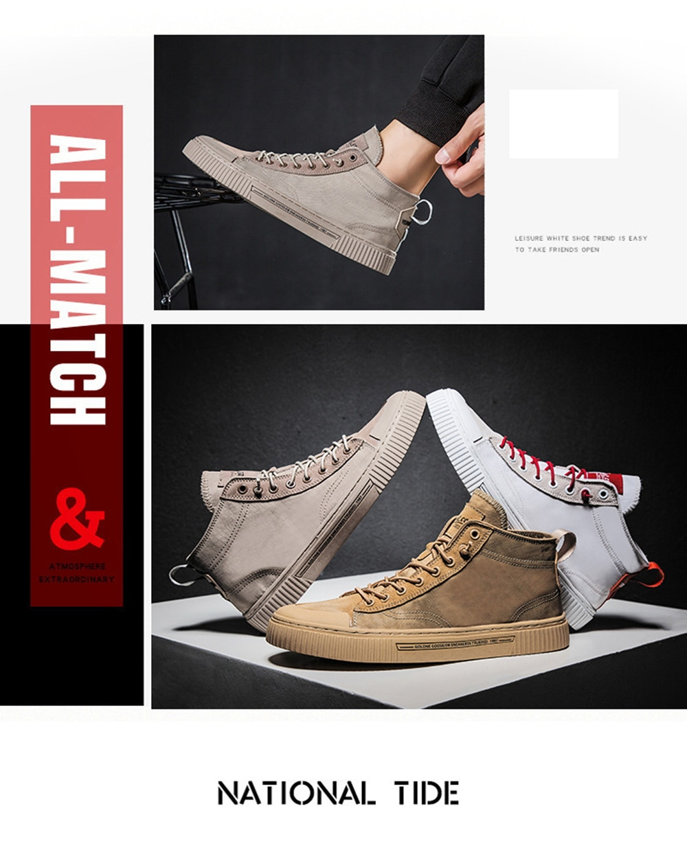 TaoBo High top Casual Shoes for Men Khaki Outdoor Sport Sneaker for Male Size 39-44 Light Weight Anti-Slippery Shoes
