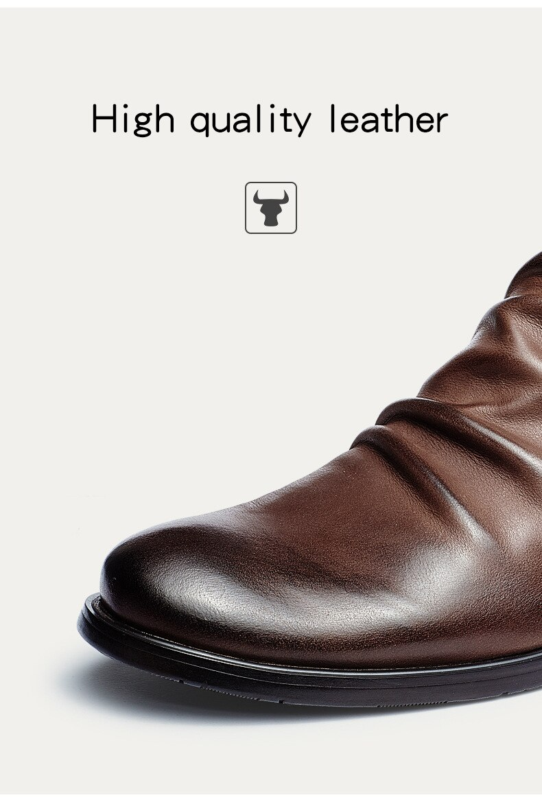 2020 Men Boots Autumn Shoes Male Leather Casual Ankle Boots Men's Breathable Anti-Slip Luxury Business Oxford Shoes