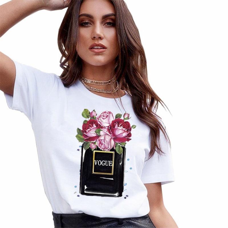 New VOGUE Perfume Vase White T Shirt Women Summer Flower Short Sleeve Lady Tops Tshirt Ladies Women's Graphic Female Tee T-Shirt