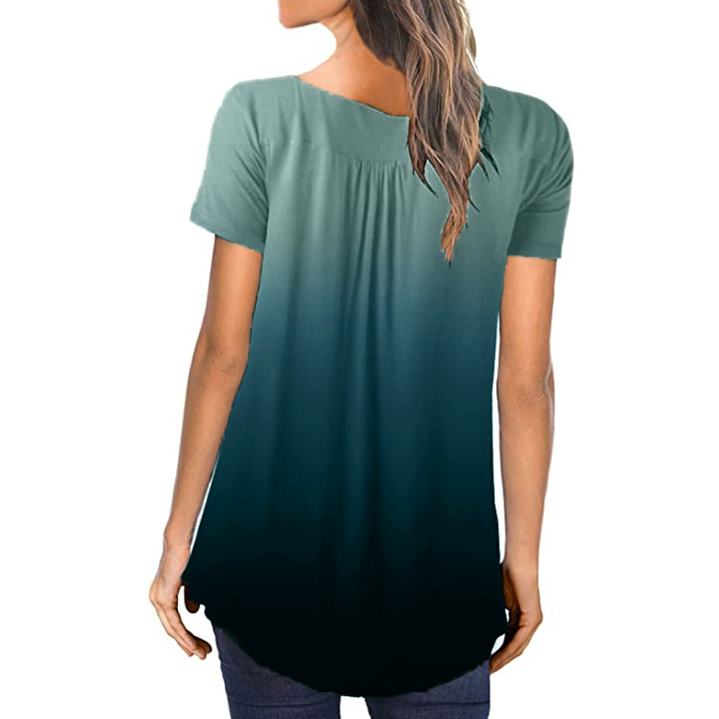 Casual Summer Women's T-shirts Plus Size Gradient Color V-Neck Tops Tee 2020 Female t shirt Short Sleeve For Ladies Tee