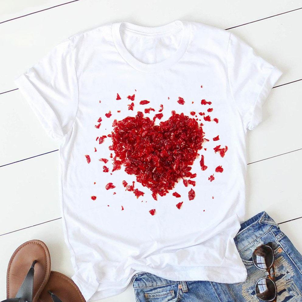 Women's t-shirt pink heart flower print casual graphic t-shirt O-neck 90s ladies girls top Harajuku top
